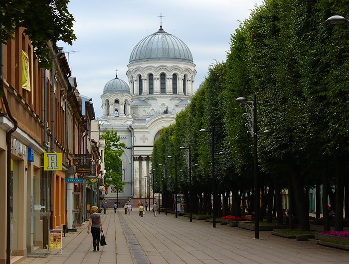 Kaunas, Lithuania: Laisvės alėja and Šv. arkangelo Mykolo bažnyčia